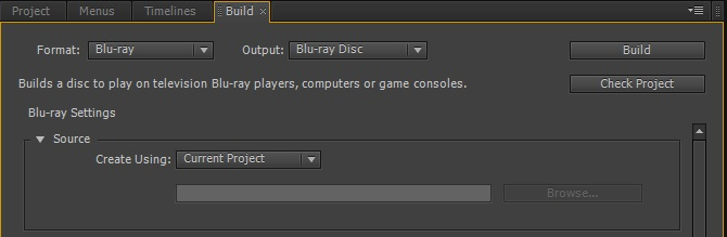 Build Blu-ray Disc Settings